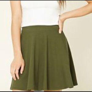 Olive Green Forever 21 Skater Skirt